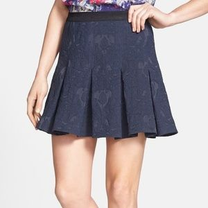 Pleated Mini Skirt in Brocade by Rebecca Taylor